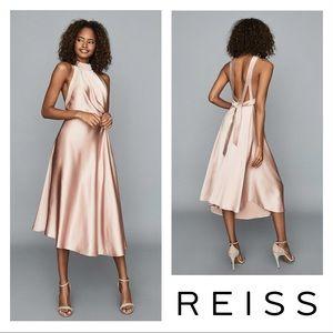 New! REISS Rita Open Back Cut Out Satin Midi Dress